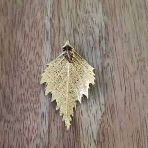 Gold dipped Leaf necklace charm